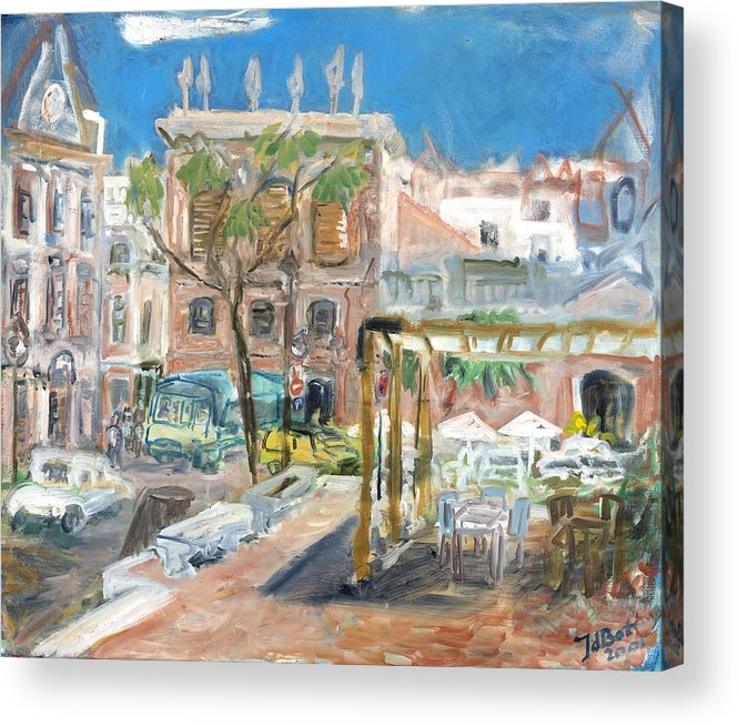 Menorca Spain Town Houses Pink Buildings Cars Trees Taverna Sunny Blue Sky Table Chairs Umbrella Acrylic Print featuring the painting Menorca II by Joan De Bot
