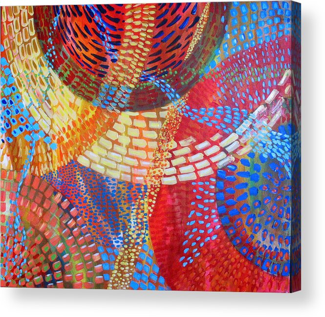 Dots Acrylic Print featuring the painting Microcosm IIi by Rollin Kocsis