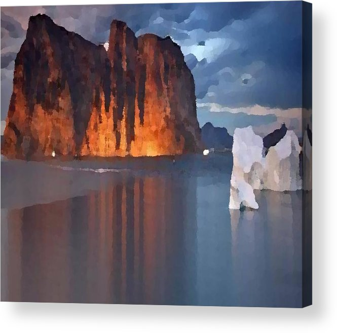 North.rock.iceberg.sea.sky.clouds.cold.landscape.nature.rest.silence Acrylic Print featuring the digital art North Silence by Dr Loifer Vladimir
