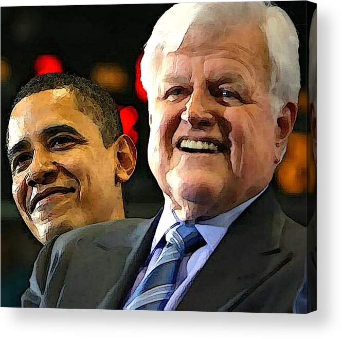 Kennedy Acrylic Print featuring the photograph Obama And Kennedy by Gabe Art Inc