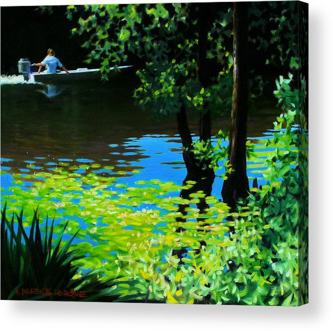 Calcasieu River Acrylic Print featuring the painting On The Calcasieu by Kevin Lawrence Leveque