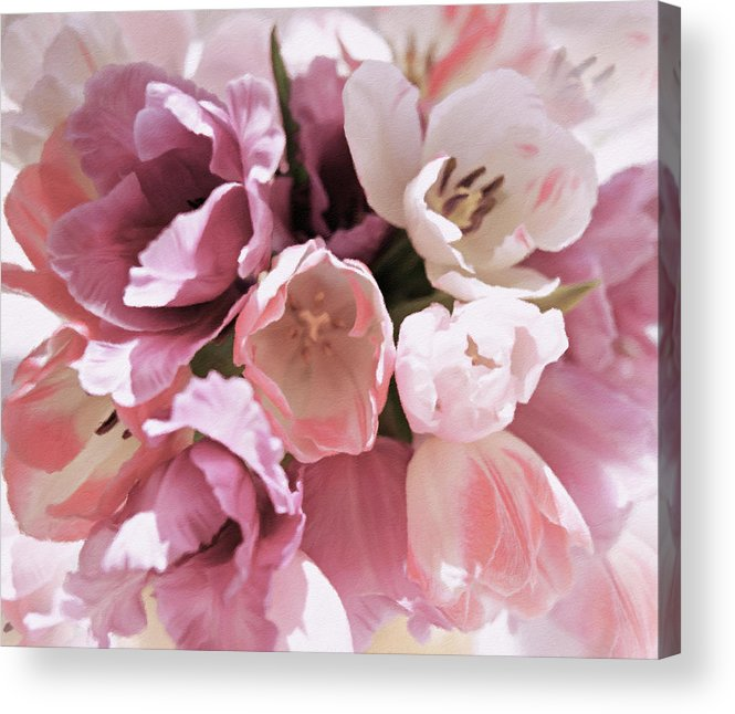 Peachy Pink Tenderness Acrylic Print featuring the pastel Peachy Pink Tenderness by Georgiana Romanovna