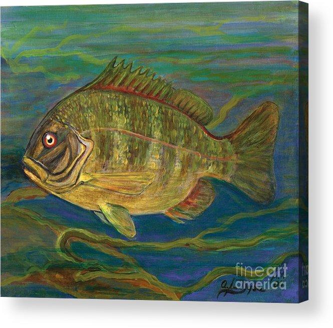Folkartanna Acrylic Print featuring the painting Predatory Fish by Anna Folkartanna Maciejewska-Dyba