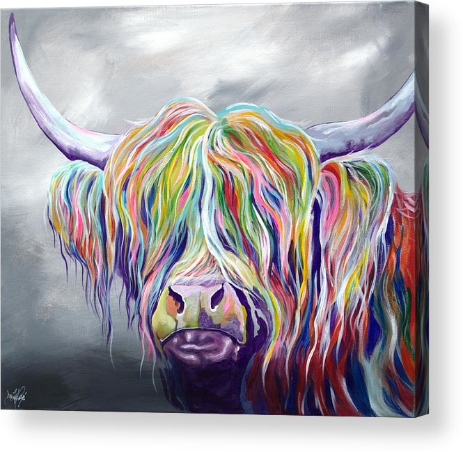 Highland Cow Coo Scotland Scottish Cattle Farm Bright Modern Animal Hebrides Acrylic Print featuring the painting Rainbow Coo by Aaron De la Haye