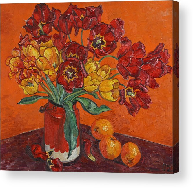 Tulips Acrylic Print featuring the painting Red And Yellow Tulips And Oranges by Vitali Komarov