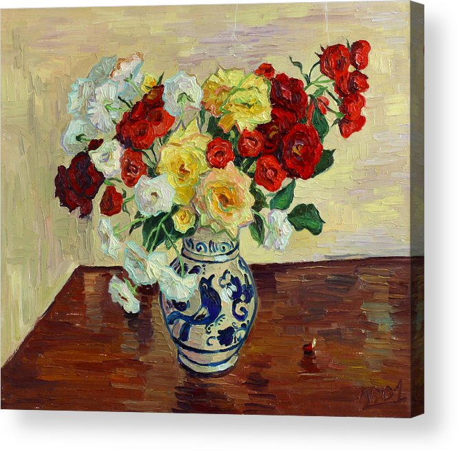 Rose Acrylic Print featuring the painting Roses In Chinese Vase by Vitali Komarov