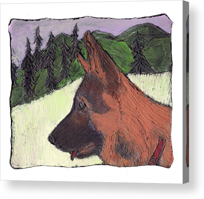 Dog Acrylic Print featuring the painting Sarge by Wayne Potrafka