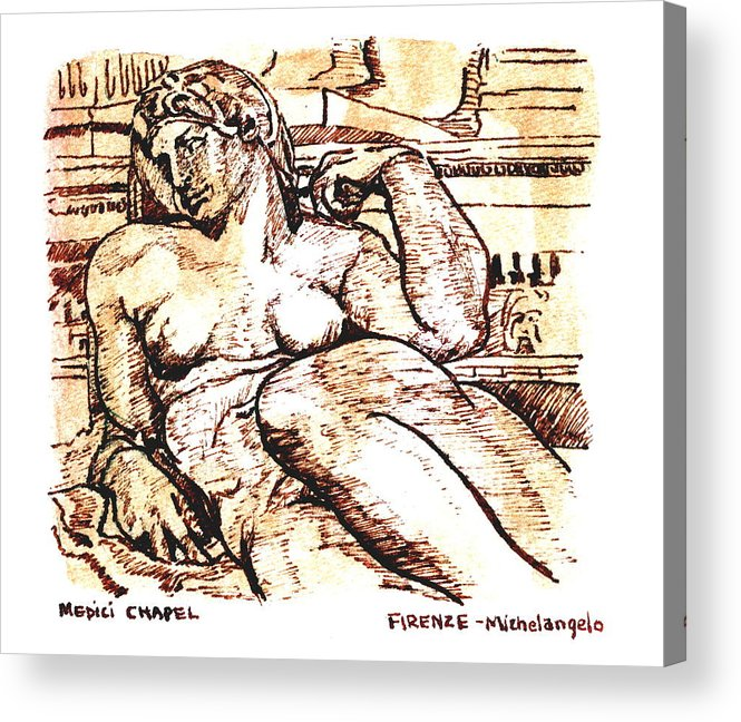 Sketch Acrylic Print featuring the drawing Sculpture At The Medici Chapel by Dan Earle