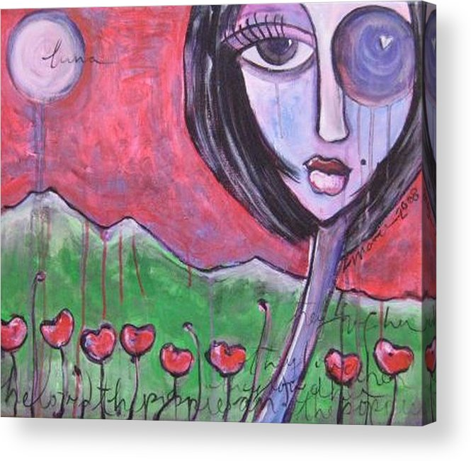 Poppies Acrylic Print featuring the painting She Loved The Poppies by Laurie Maves ART