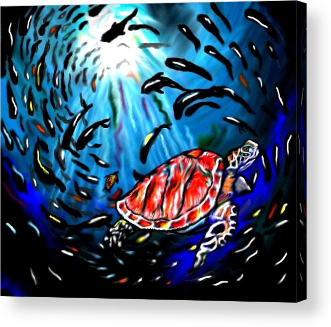 Turtle Acrylic Print featuring the painting Shell Game by Herbert Renard