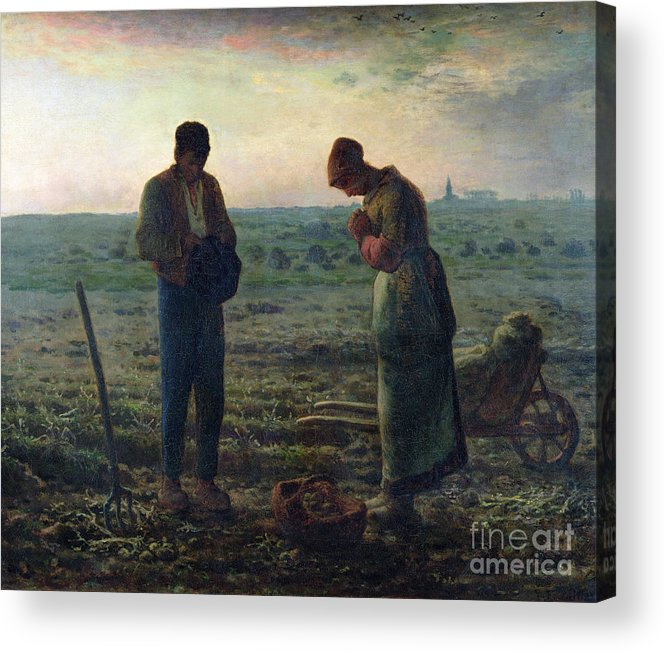 The Acrylic Print featuring the painting The Angelus by Jean-Francois Millet