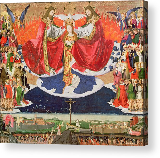 The Acrylic Print featuring the painting The Coronation Of The Virgin by Enguerrand Quarton