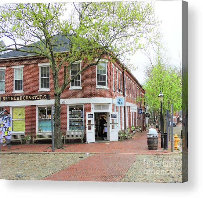 The Hub Nantucket Island Massachusetts Acrylic Print featuring the photograph The Hub Corner by Karen Velsor