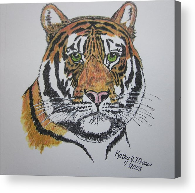 Bengal Acrylic Print featuring the painting Tiger by Kathy Marrs Chandler