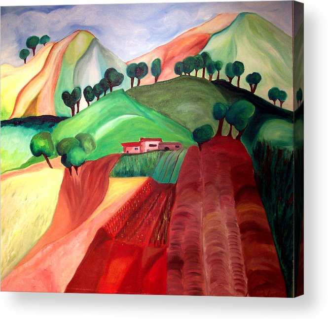 Abstract Acrylic Print featuring the painting Tuscan Landscape by Patricia Arroyo