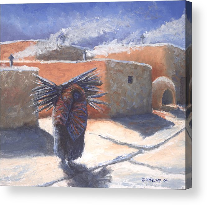 Adobe Acrylic Print featuring the painting Winter's Work by Jerry McElroy