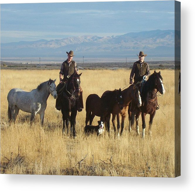 Western Acrylic Print featuring the photograph Mustang 'n' Cowboys by Janey Loree