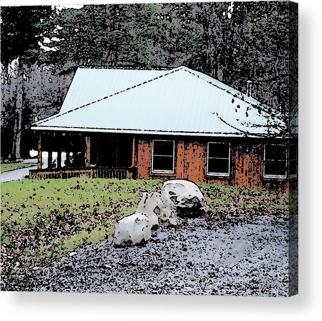Cabin Acrylic Print featuring the mixed media Cabin Lodge by Pharris Art