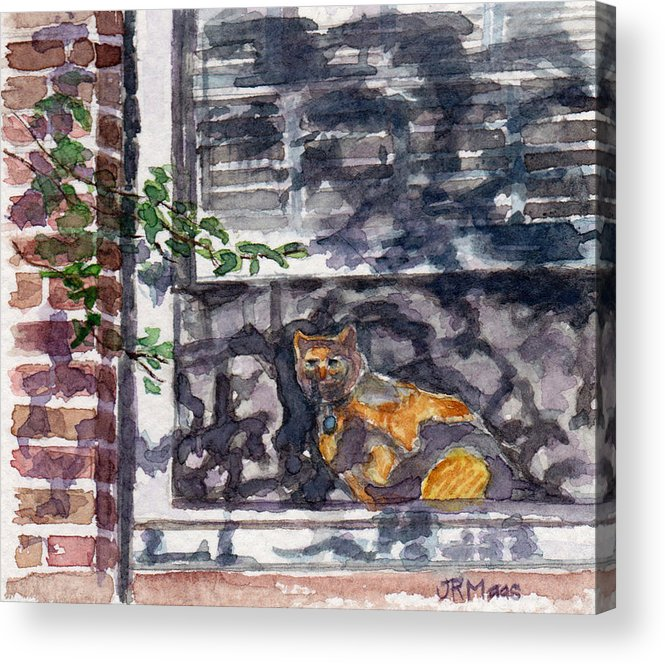 Cat Acrylic Print featuring the pastel Cat Behind The Screen by Julie Maas