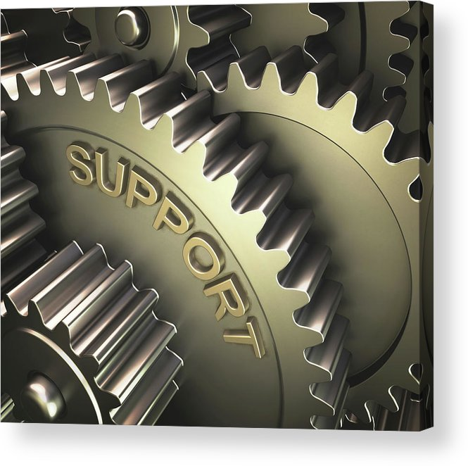 3 Dimensional Acrylic Print featuring the photograph Gears With The Word 'support' by Ktsdesign