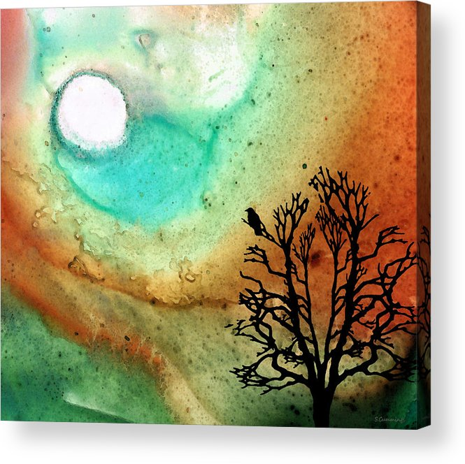 Moon Acrylic Print featuring the painting Summer Moon - Landscape Art By Sharon Cummings by Sharon Cummings