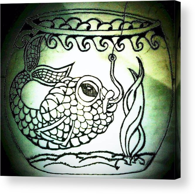 Fish Hook Acrylic Print featuring the drawing Hooked by Jennifer Lamb