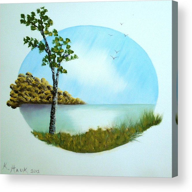 Landscape Acrylic Print featuring the painting Pleasant Day By The Lake. by Kristina Hauk