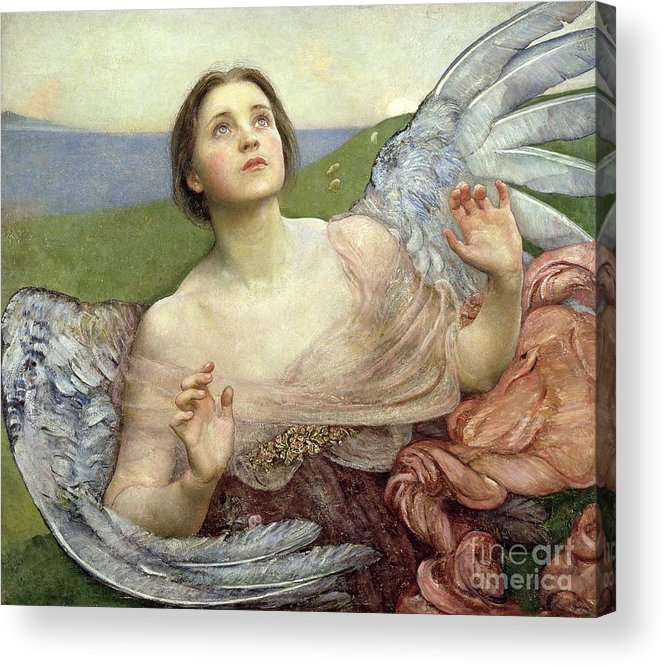 Personification; Wings; Angel; Female; Seeing; Pre-raphaelite; Victorian Acrylic Print featuring the painting Sense Of Sight by Annie Louisa Swinnerton