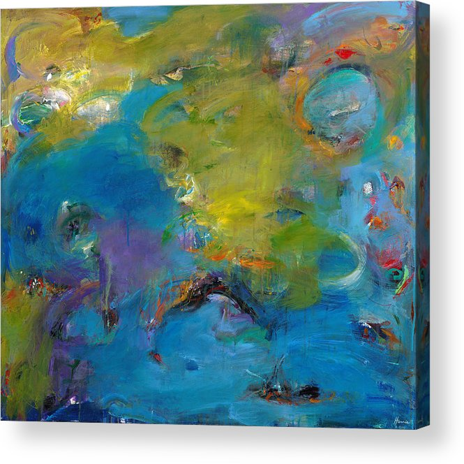 Abstract Expressionistic Acrylic Print featuring the painting Still Waters Run Deep by Johnathan Harris