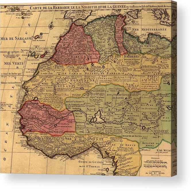 History Acrylic Print featuring the photograph 1742 French Map Of Northwest Africa by Everett