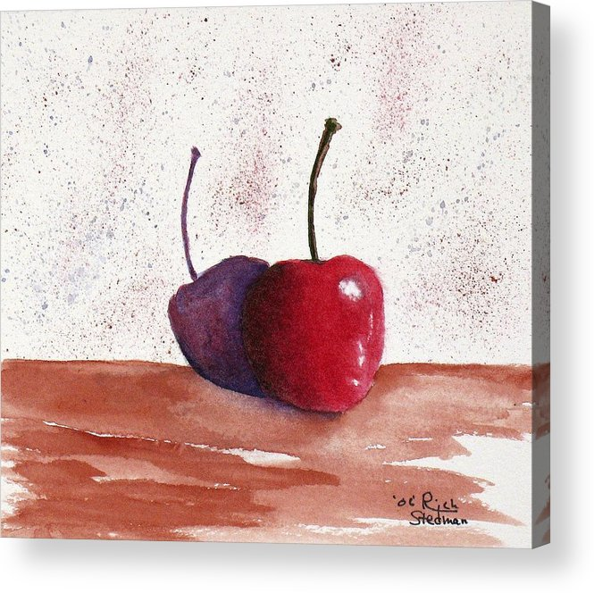 Food And Beverage Acrylic Print featuring the painting Cheery Cherry by Rich Stedman