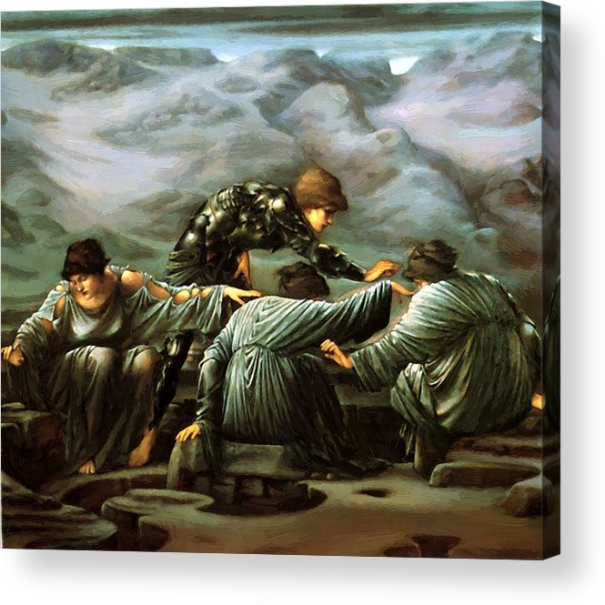 Perseus Acrylic Print featuring the painting Perseus And The Graiae by BurneJones Edward
