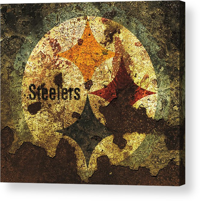 Pittsburgh Steelers Acrylic Print featuring the mixed media The Pittsburgh Steelers R1 by Brian Reaves