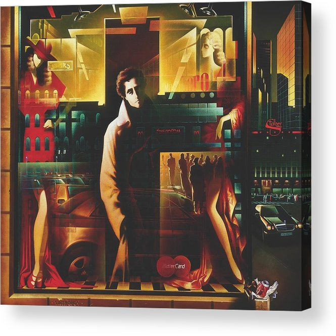 Figures Acrylic Print featuring the painting Loneliness by Andrej Vystropov