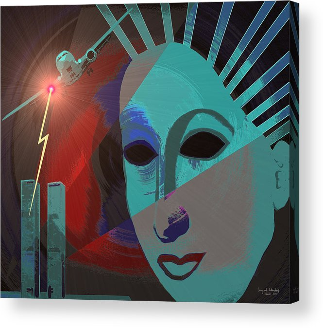 Nine-eleven Acrylic Print featuring the painting 132 - Nine Eleven In My Mind by Irmgard Schoendorf Welch