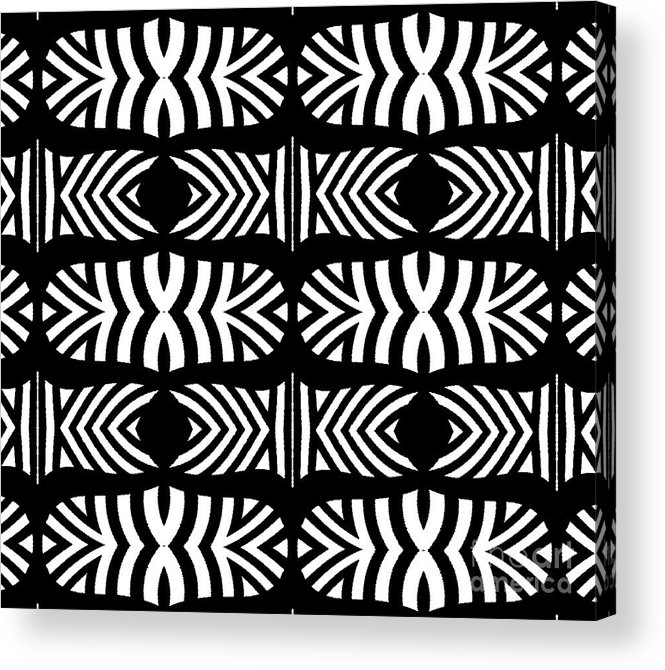 Black And White Pattern Acrylic Print featuring the digital art Pattern Black White Art No.302. by Drinka Mercep