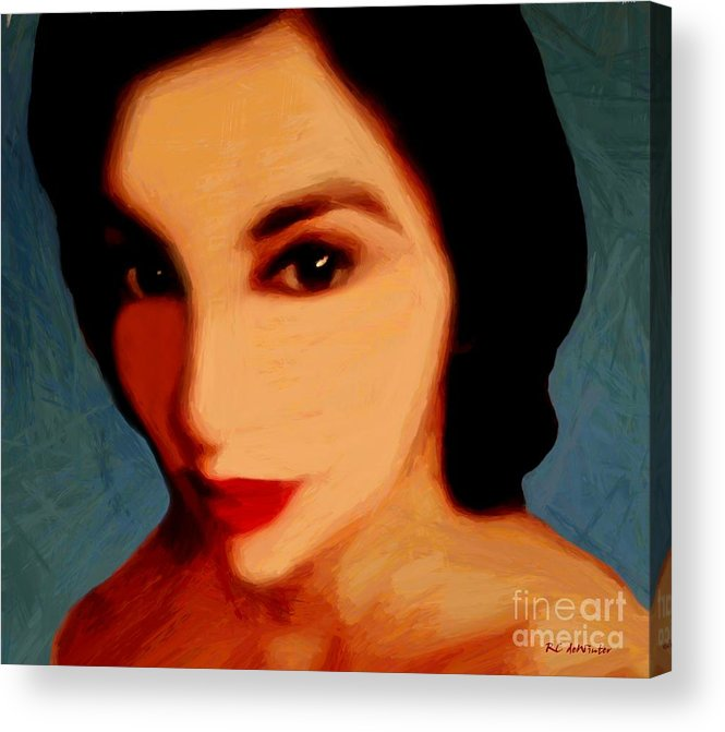 Portrait Acrylic Print featuring the painting Black-eyed Beauty by RC DeWinter
