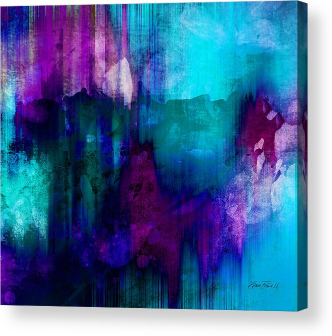 Abstract Acrylic Print featuring the painting Blue Rain Abstract Art  by Ann Powell