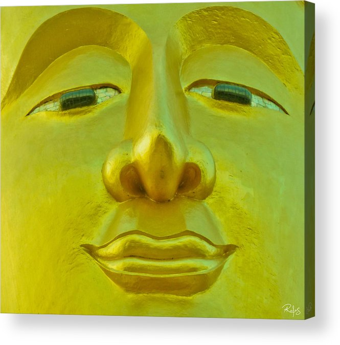 Buddha Acrylic Print featuring the photograph Golden Buddha Smile by Allan Rufus
