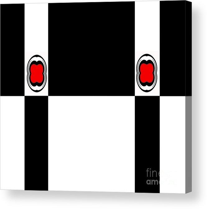 Geometric Art Acrylic Print featuring the digital art Minimalism Geometric Art Black White Red Abstract No.172. by Drinka Mercep