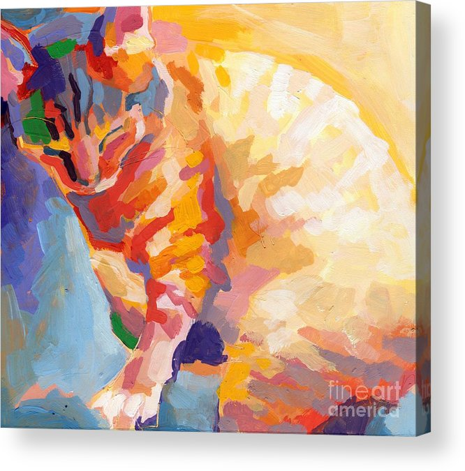 Mona Lisa Acrylic Print featuring the painting Mona Lisa's Rainbow by Kimberly Santini