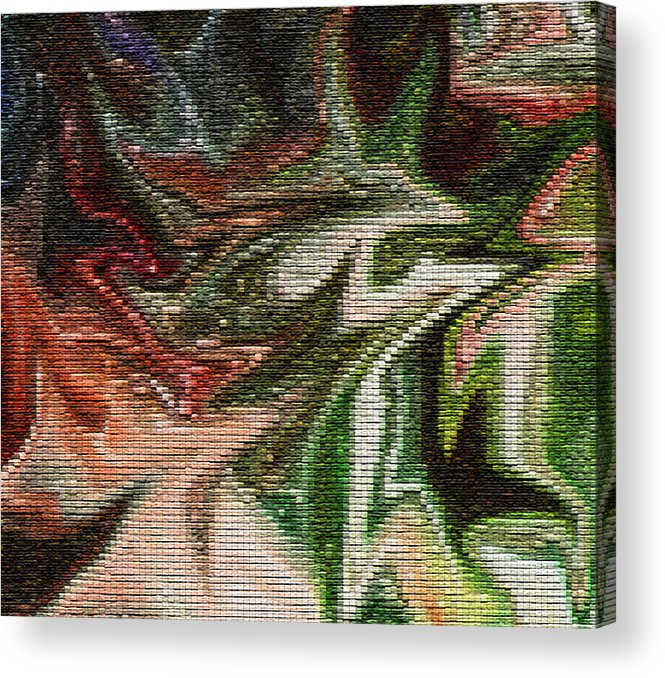 Leaves Acrylic Print featuring the digital art Mosiac Leaves by Christine Maeda