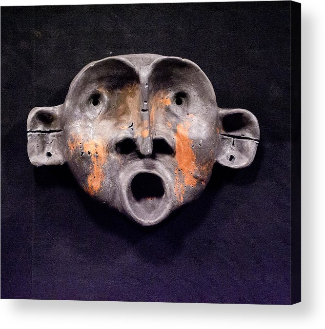 Sculpture Acrylic Print featuring the sculpture Nico Black And Orange Mask by Mark M Mellon