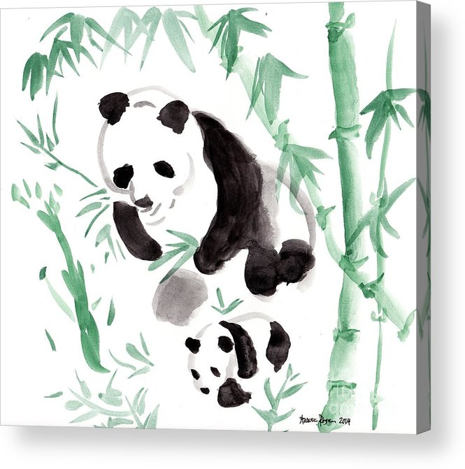 Bamboo Acrylic Print featuring the painting Panda Family by Natalie Rogers