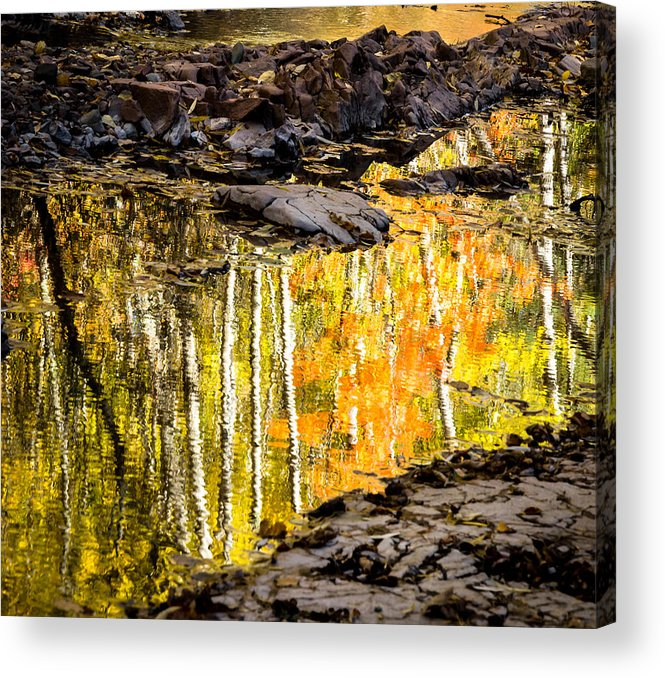 Reflection Autumn autumn Reflection fall Colors Duluth Nature Magical Serene amity Creek Minnesota fleeting Moment Acrylic Print featuring the photograph A Moment Of Reflection by Mary Amerman