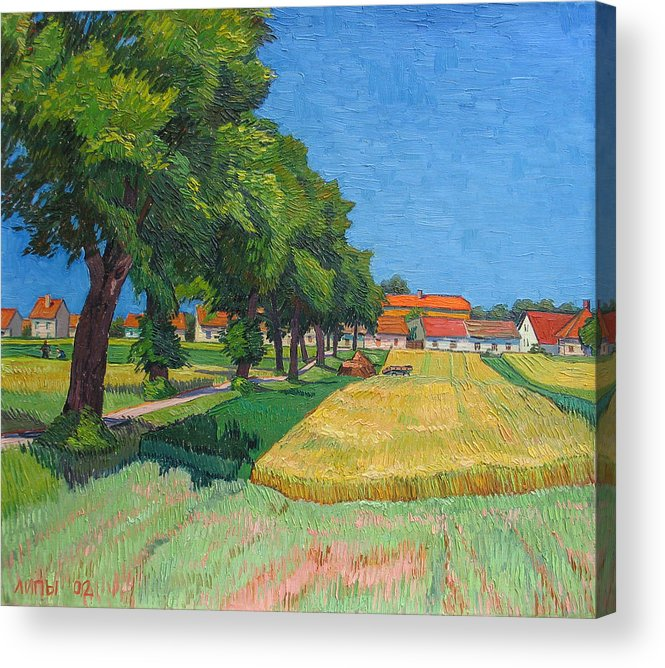 Red Roofs Acrylic Print featuring the painting A Lane With Blossoming Lindens by Vitali Komarov