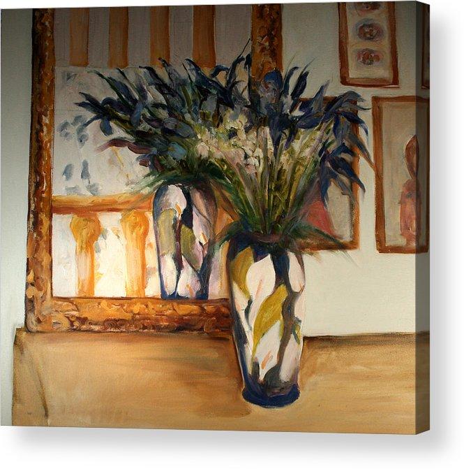 Iris Acrylic Print featuring the painting Blue Iris by Pat White