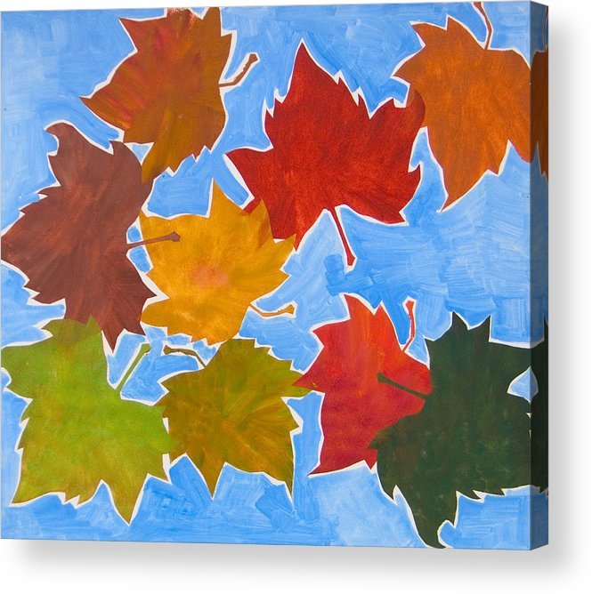 Leaf Acrylic Print featuring the painting Colorful Leaves by Vitali Komarov