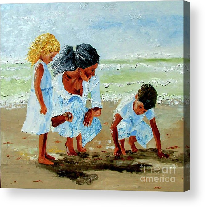 Family Acrylic Print featuring the painting Family At The Beach by Inna Montano