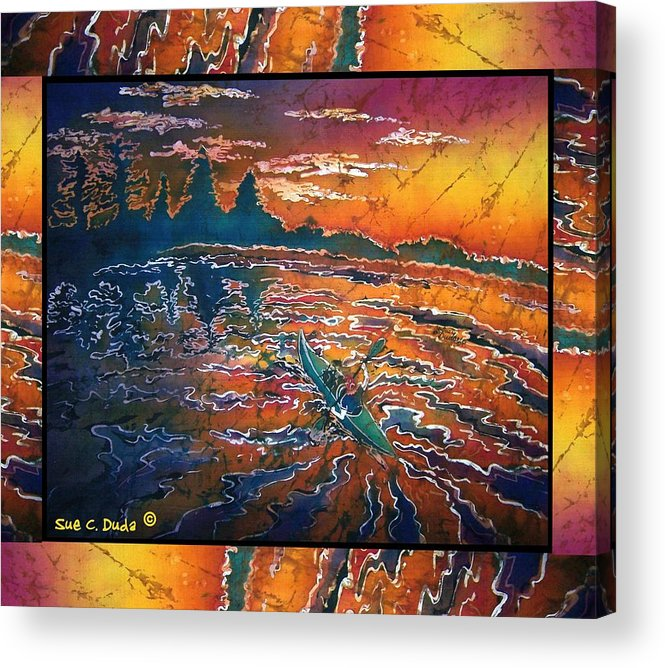 Kayak Acrylic Print featuring the painting Kayaking Serenity - Bordered by Sue Duda